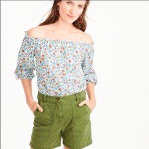JCREW Liberty Floral Print Peasant Blouse Size 0